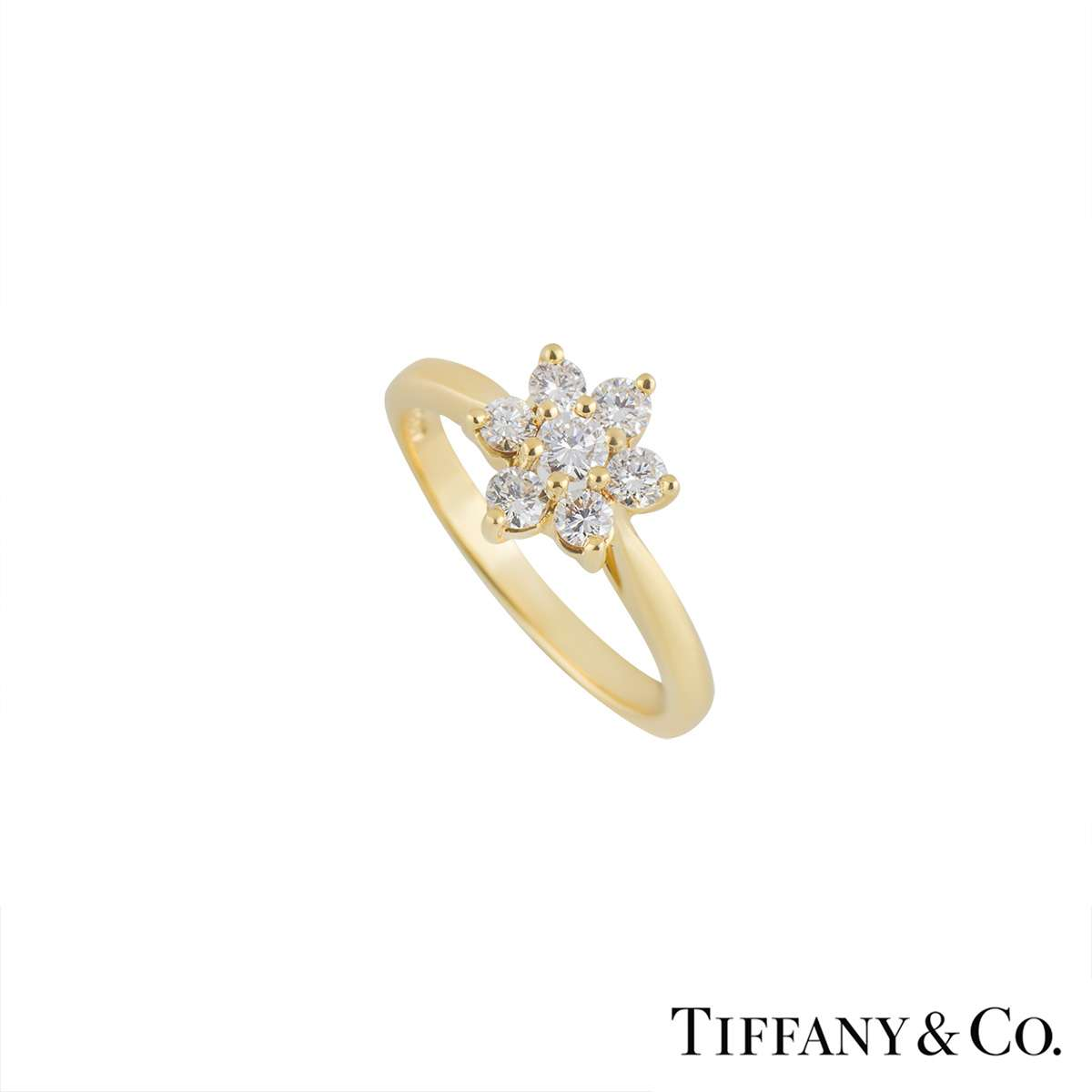 Tiffany & Co 18k Yellow Gold Diamond Flower Ring 0.47ct - Rich ...